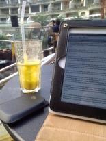 Sahara Star, Mumbai 2013..enjoying delicious Mango Coconut Smoothie and reading movie reviews before a meeting.