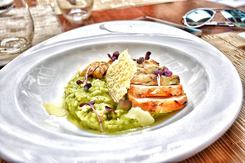 My main course - Risotto al Pesto with cream pesto sauce, parmesan cheese and charcoal grilled chicken