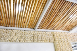 Beautiful from wall to ceiling - the bakery gets a gorgeous makeover with a sweeping bamboo canopy that feels cozy and private without being closed off.